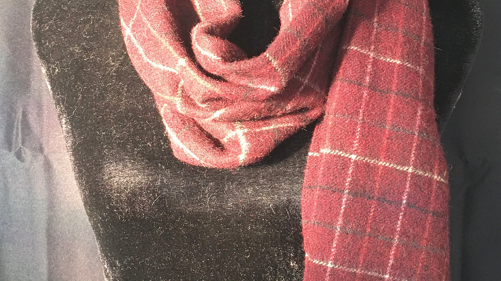 Burgundy White and Black Shetland Wool Plaid Scarf