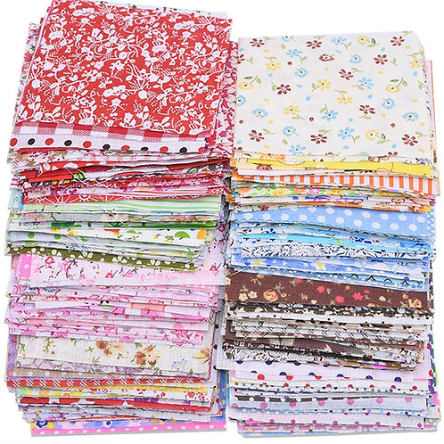 "50pcs Assorted Floral Printed Cotton 4""X4"" Square"