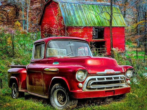1957 Chevy Red Truck with Red Barn Panel