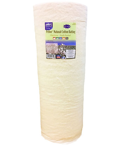"Pellon Natural Cotton Batting Roll with Scrim Needle Punched 90"" Wide"