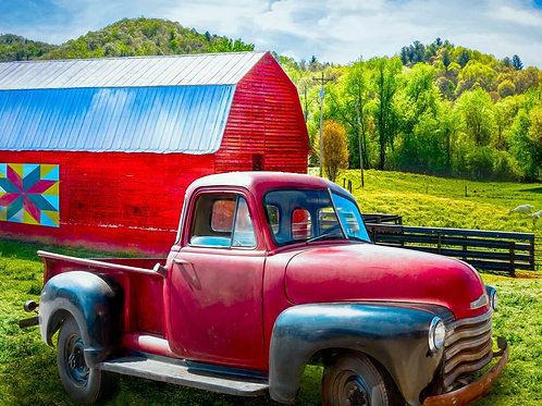Red Truck at Red Barn with Quilt Symbol Panel