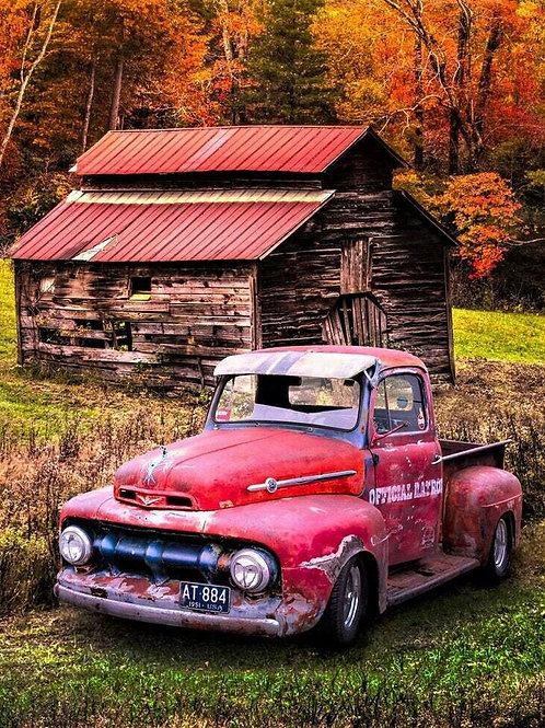 RED PATRIOTIC Vintage Pick Up TRUCK Fabric Panel