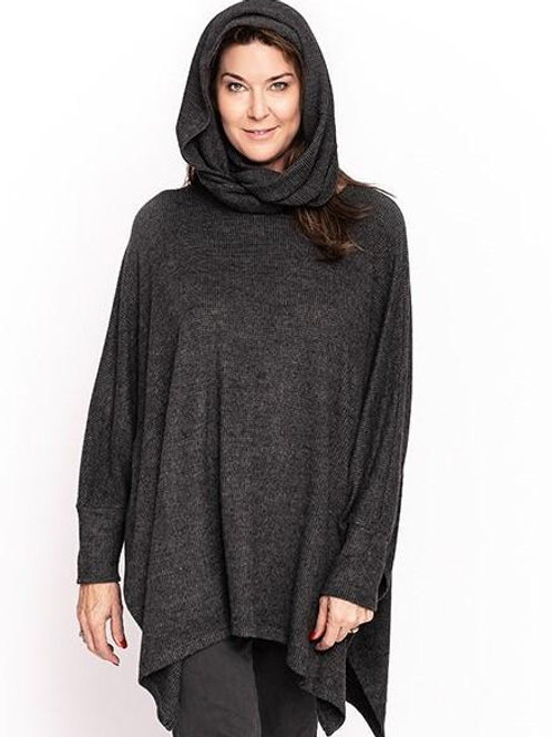 Assisi Poncho with Detachable Snood -  Granite