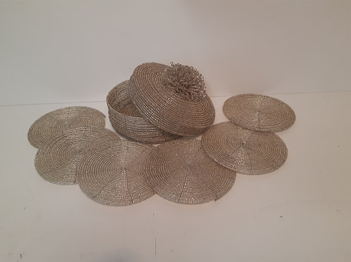 Set of 6 Coasters in Basket -Silver