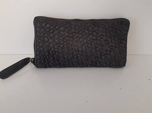 Full Grain Woven Leather Wallet - Black