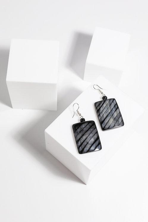 Holiday Vega Earrings - Black Stripe