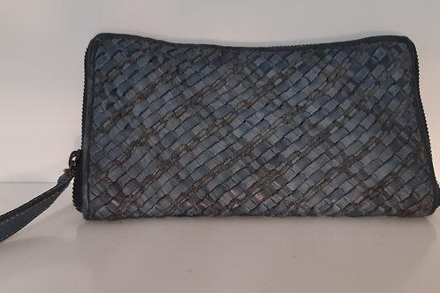 Full Grain Woven Leather Wallet - Blue