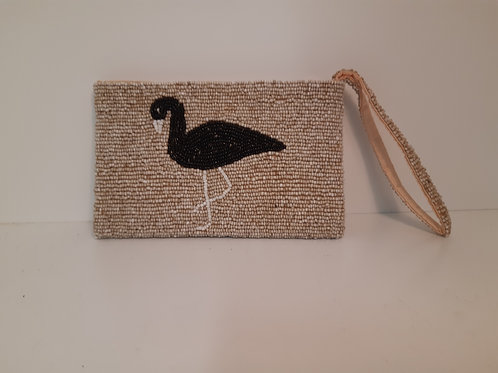 Beaded Purse with Strap - Natural