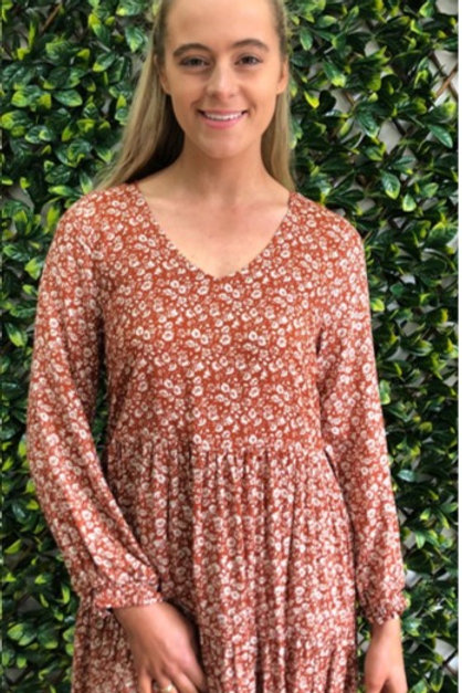 Silver Wishes Ditzy Print Long Sleeve Tier Dress - Rust