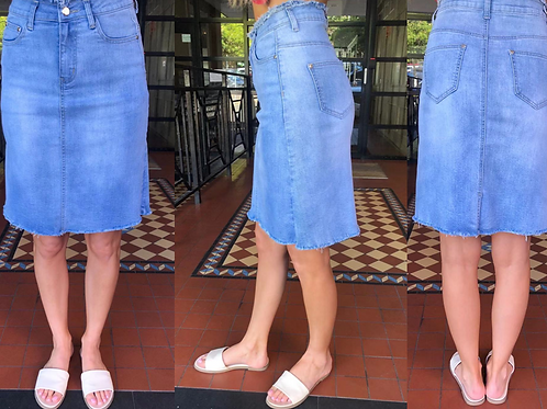 Silver Wishes A-Line Denim Skirt