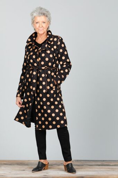 Safari Trench Coat - Black Suede With Tan Spot