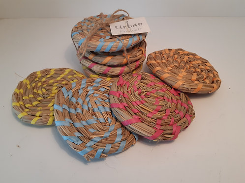 Urban Products Set 4 x Rafia Coasters - Multi