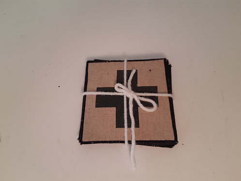 Set 6 Fabric Coasters - Black
