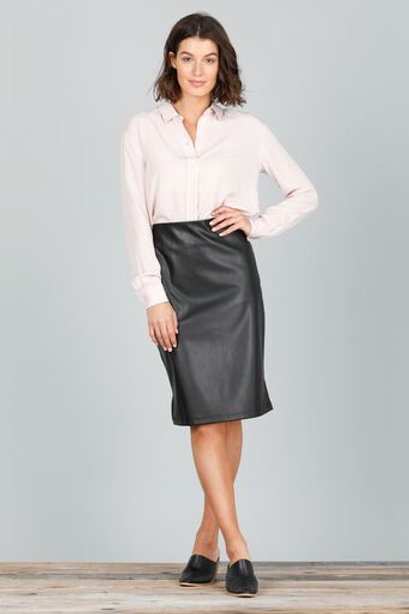 B & T Beverly Skirt With Faux Leather Front - Black