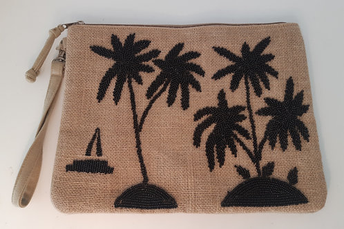 Holiday Palm Clutch - Natural & Black