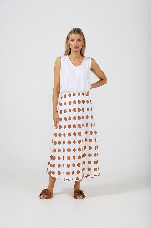 The Shanty Sicily Skirt - Tan Polka Dot