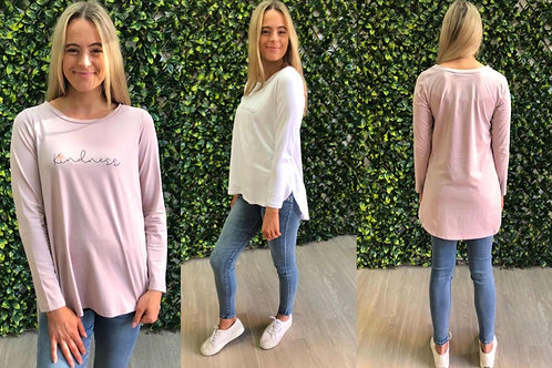 Silver Wishes Kindness Long Sleeve Tee -White & Blush Pink