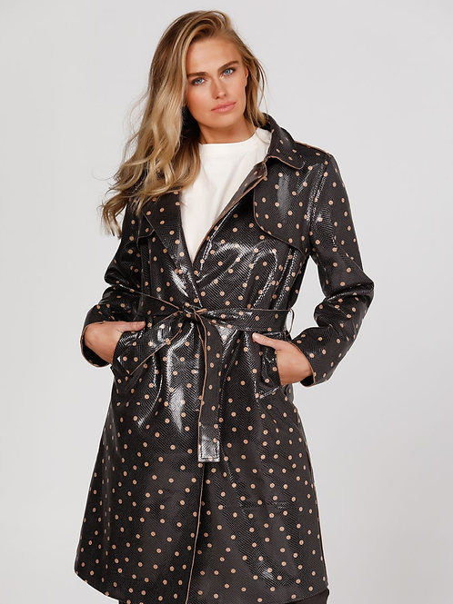 Safari Trench - Faux Leather Black With Small Spots