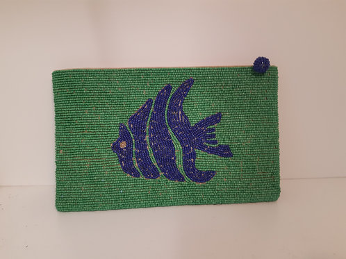 Beaded Purse - Green with Blue Fish