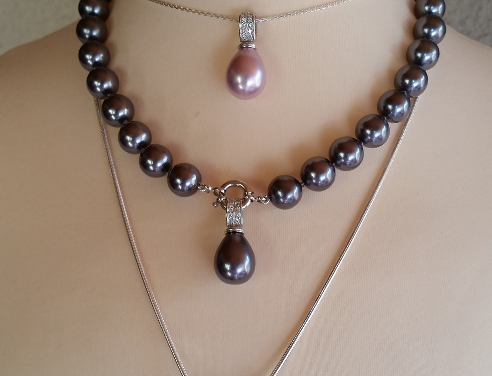 Shell pearls with teardrop