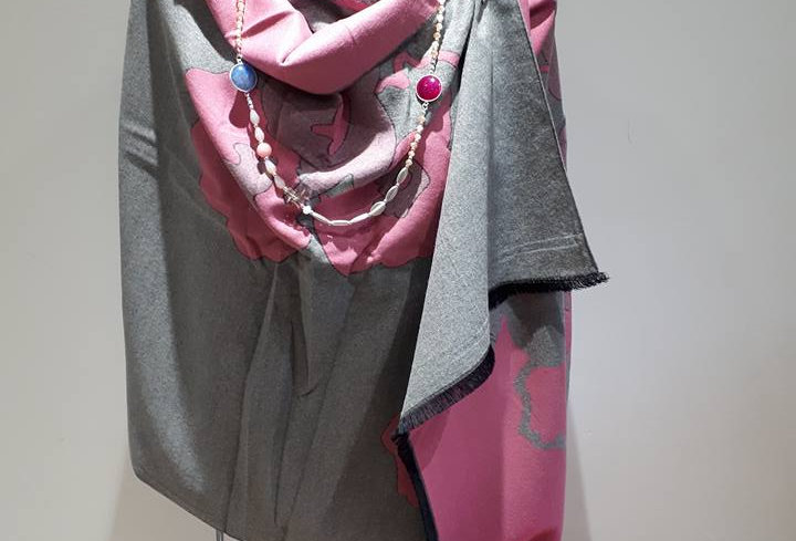 Flower Pink on Grey 20% Cashmere Wrap