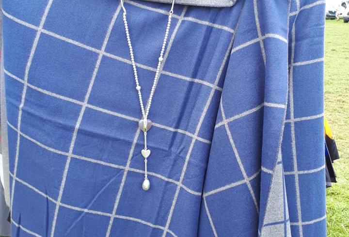 Check Blue on Grey Reversable 20% Cashmere Wrap