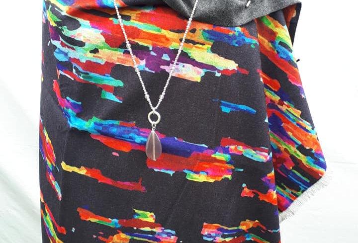 Multicolour on Black 20% Cashmere Wrap