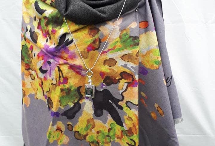 Autumn Flowers Mustard on Grey 20% Cashmere Wrap