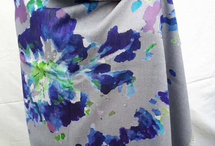 Autumn Flowers Blue on Grey 20% Cashmere Wrap