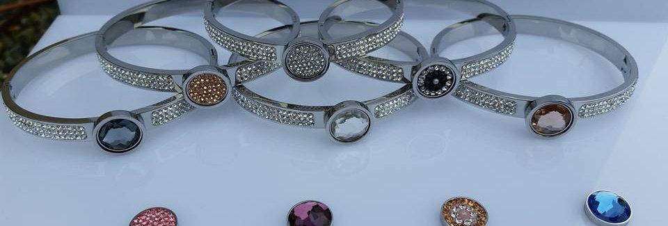 Crystal button bangles