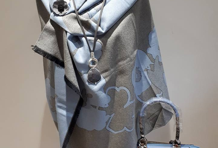 Flower Blue on Grey 20% Cashmere Wrap