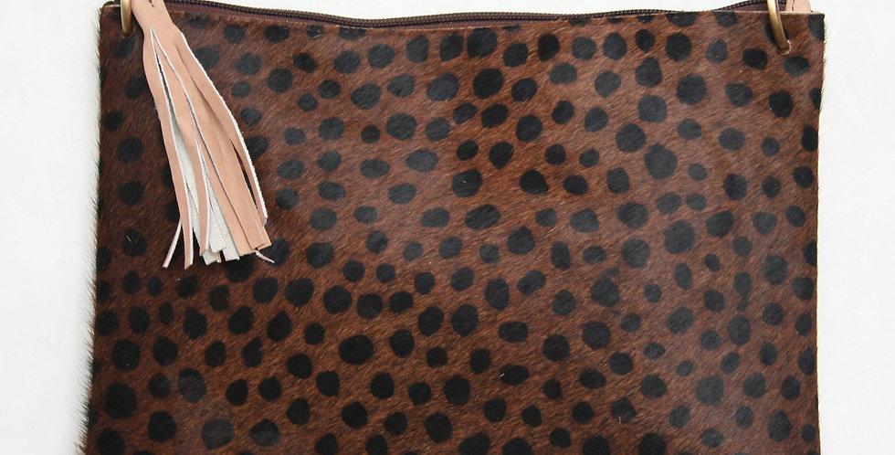 Grande pochette en cuir imprimé Guépard brun