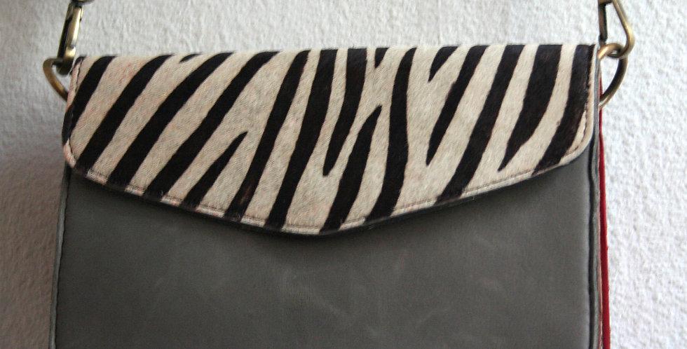 Sac à main zebre et cuir gris souris