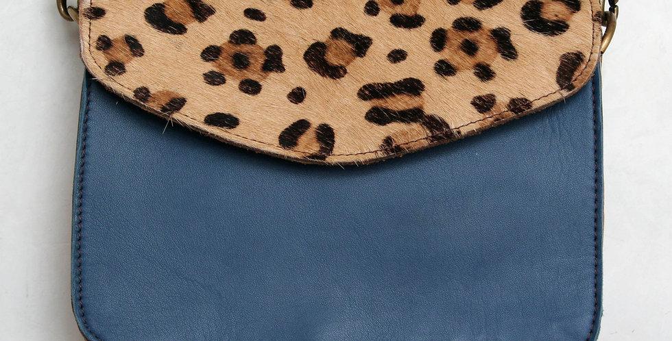 Sac à main léopard et cuir bleu ardoise