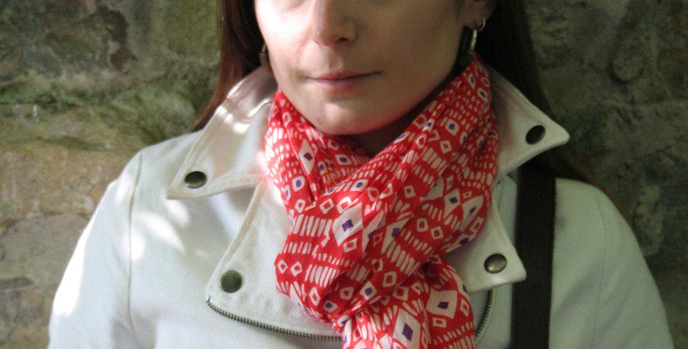 Paréo-chèche en voile de coton imprimé Cheyenne rouge