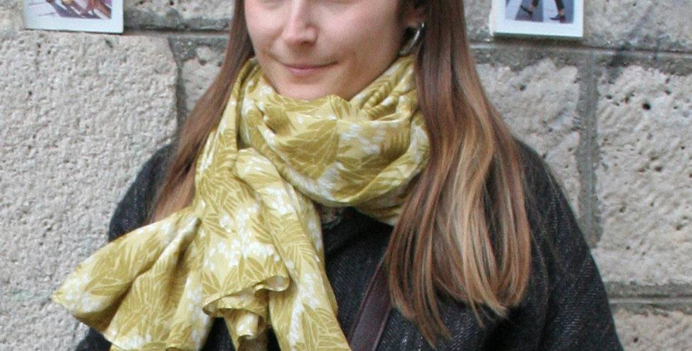 Paréo-chèche en voile de coton imprimé Jungle kaki