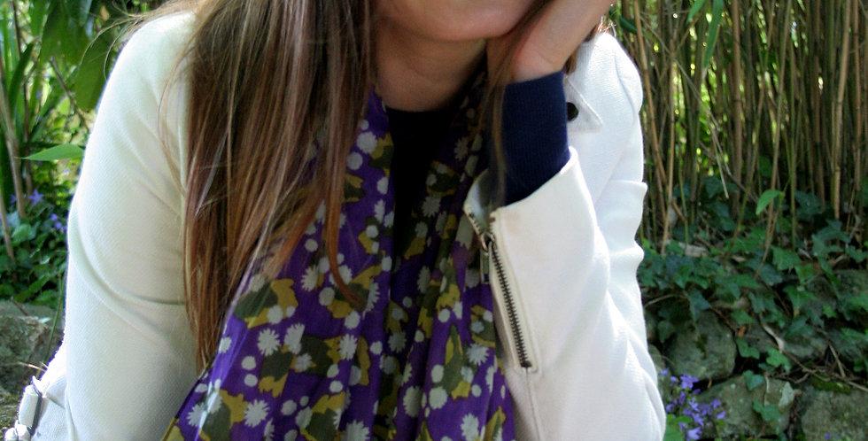 Paréo-chèche en voile de coton imprimé Daisy violet