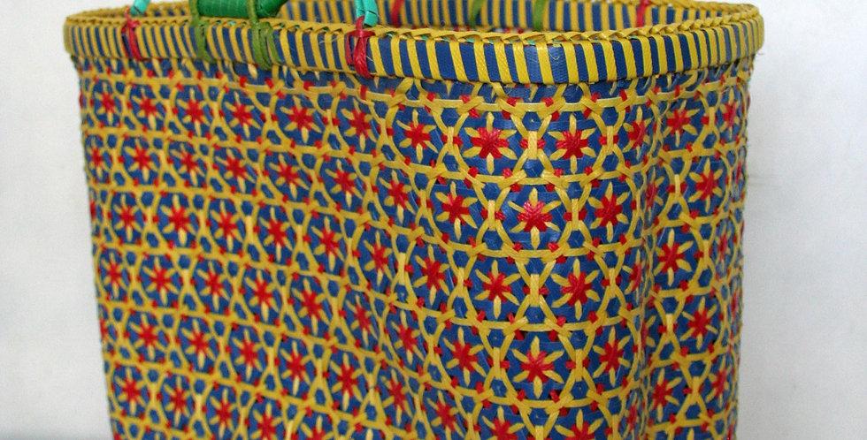 Panier tressé en plastique recyclé jaune/bleu/rouge