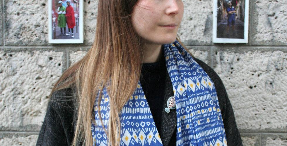 Paréo-chèche en voile de coton imprimé Cheyenne bleu
