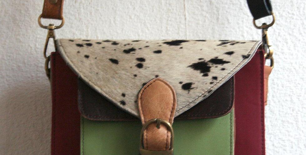 Petite besace en cuir multicolore et peau de vache imprimée apaloosa
