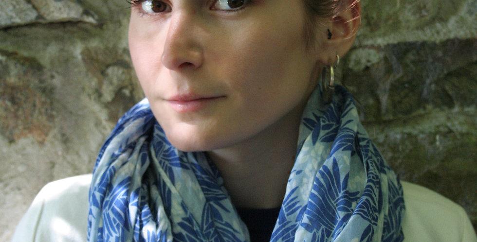 Paréo-chèche en voile de coton imprimé Jungle bleu
