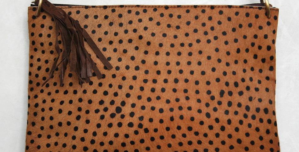 Grande pochette en cuir imprimé Guépard noisette