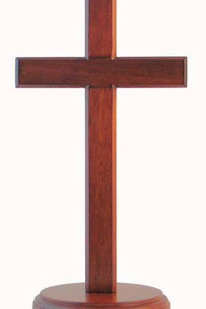 Standing Cross Round Base Dark - 20cm