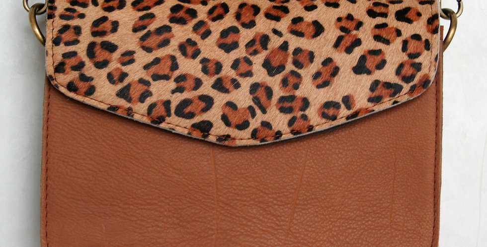 Sac à main léopard et cuir caramel