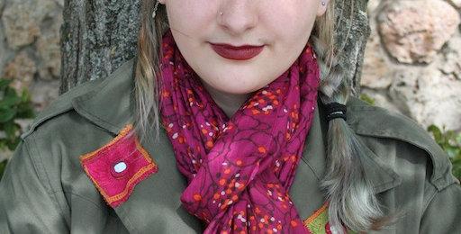 Paréo-chèche imprimé Hortensia rouge