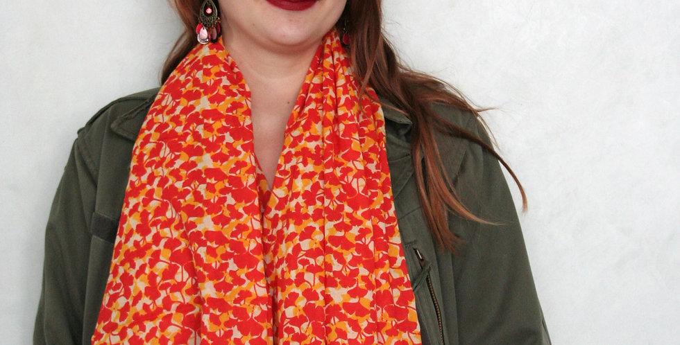 Paréo-chèche imprimé Ginko orange