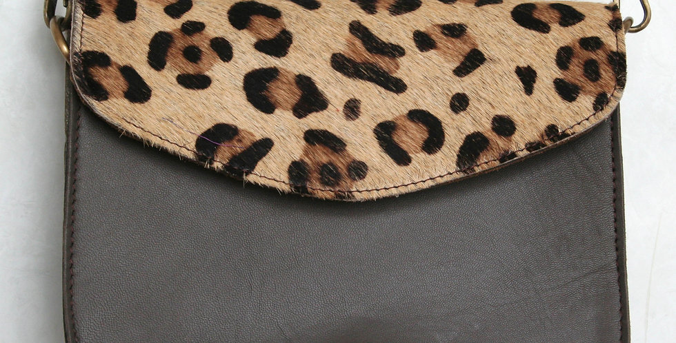 Sac à main léopard et cuir gris souris