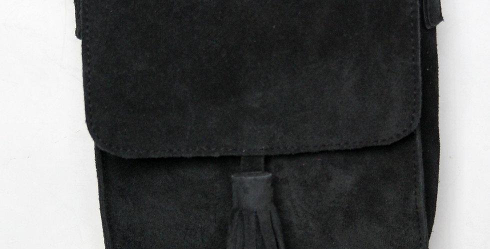 Sac bandoulière en cuir façon daim gris anthracite