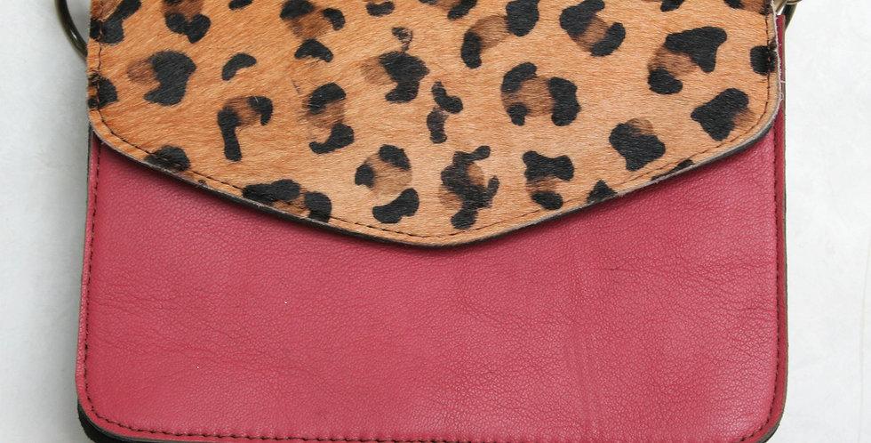 Sac à main léopard et cuir rose cyclamen