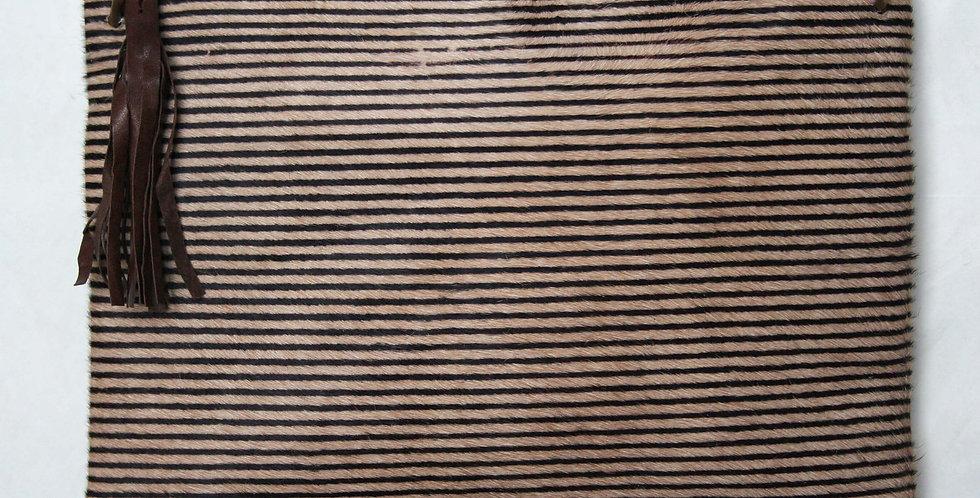 Grande pochette en cuir imprimé Rayures verticales